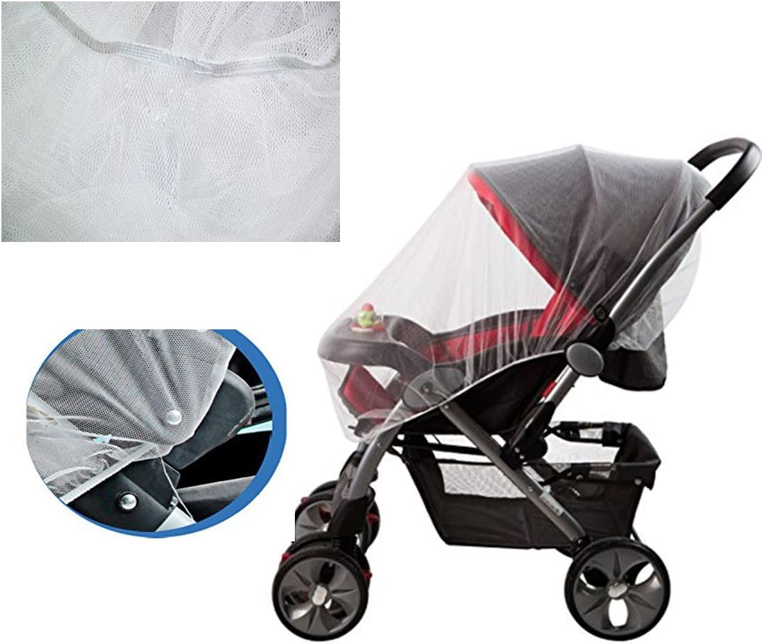 SYOOY 2 PCS Stroller Mosquito Net Insect Netting for Baby Strollers Cribs Car Seats Cradles White