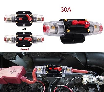 amazon com podoy 12v dc 30a car audio circuit breaker for 12v rh amazon com