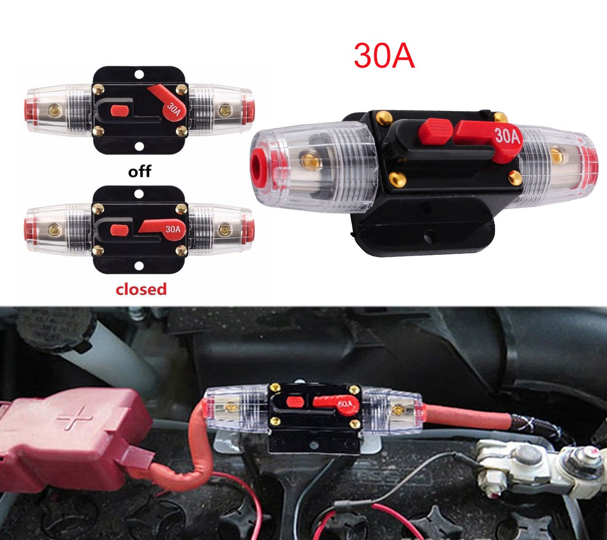 Podoy 12V DC 30A Car Audio Circuit Breaker for 12V System Protection
