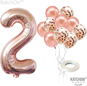 KatchOn Rose Gold Number 2 Balloon - foil Mylar Rose Gold Balloons Party Decorations Rose Gold Party Supplies for Engagement Birthday Baby Shower Wedding 32 Foot Balloons String
