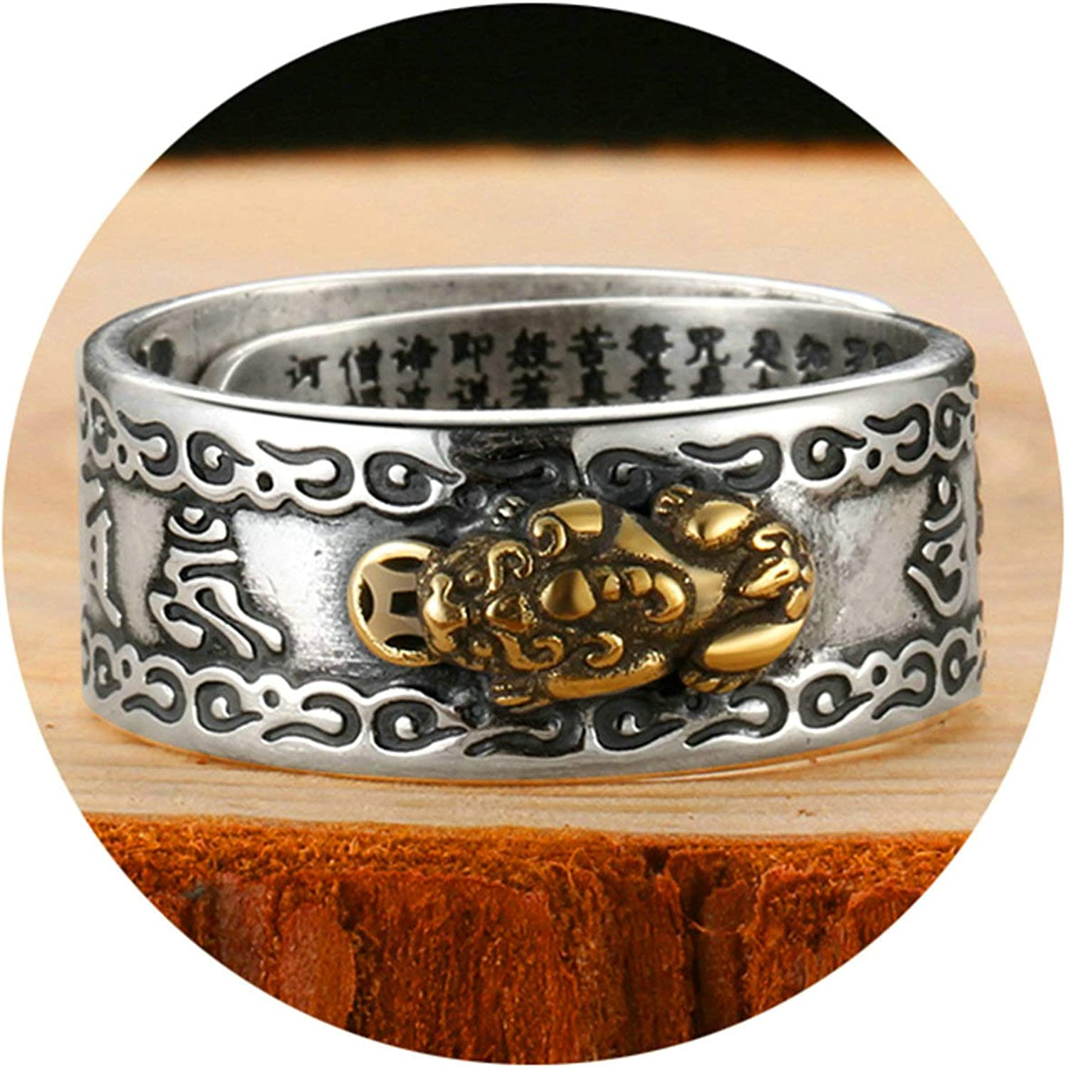 AMDXD Jewellery S925 Sterling Silver Men Wedding Bands Buddhism Heart Sutra Silver Black Rings Size 8