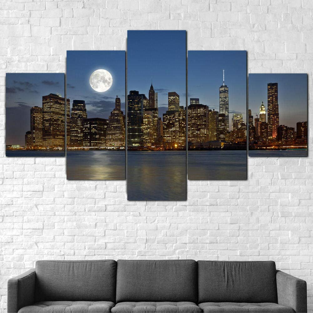 Luck7, 5 Pieces Canvas Wall Art, Manhattan New York City Moon, Canvas Paintings Posters Print on Canvas Stretched and Framed Ready to Hang-150x80cm