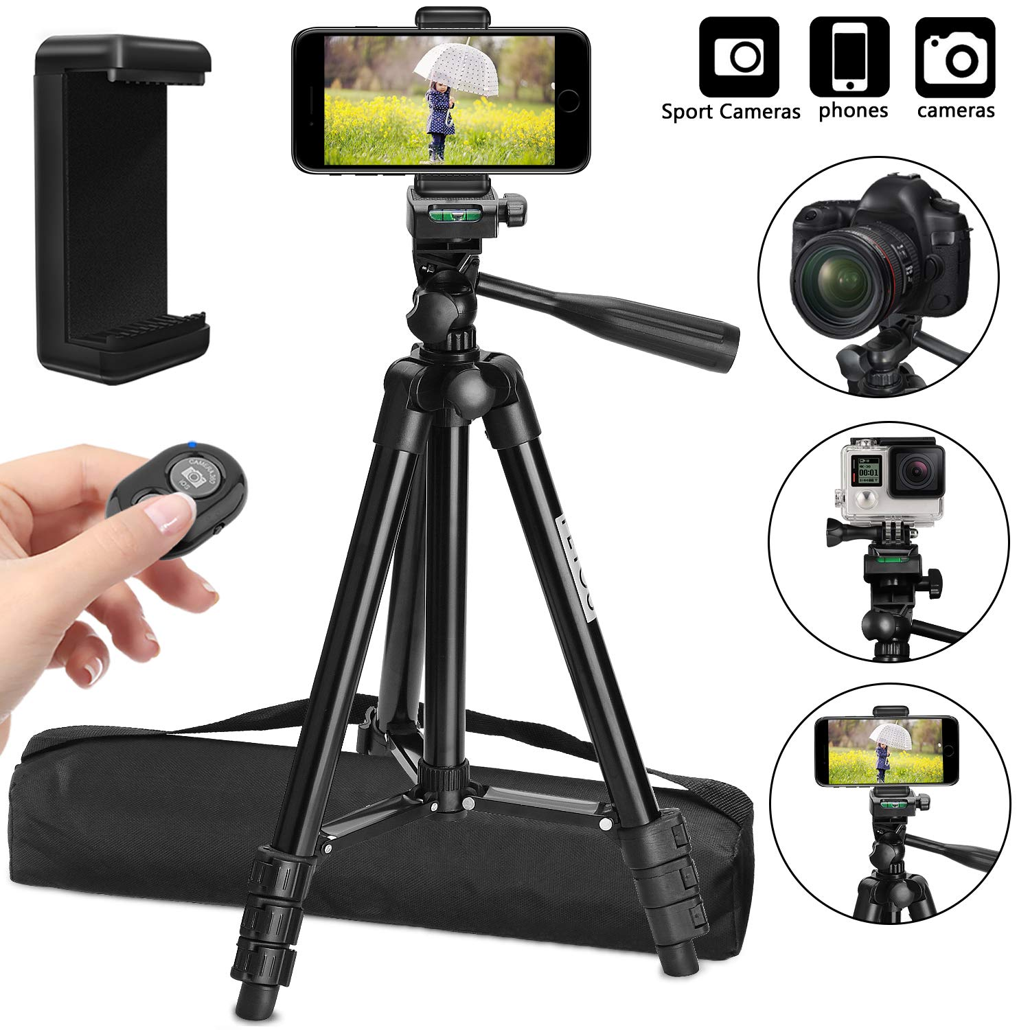 Tripod for iPhone X, PEYOU 42'' Aluminum Camera Tripod + Wireless Remote Shutter + Universal Smartphone Holder Mount Compatible for iPhone Xs MaxXR X 8 Plus 7 6 6S Plus, Galaxy Note 9 8 S10 S9 S8 Plus by Peyou