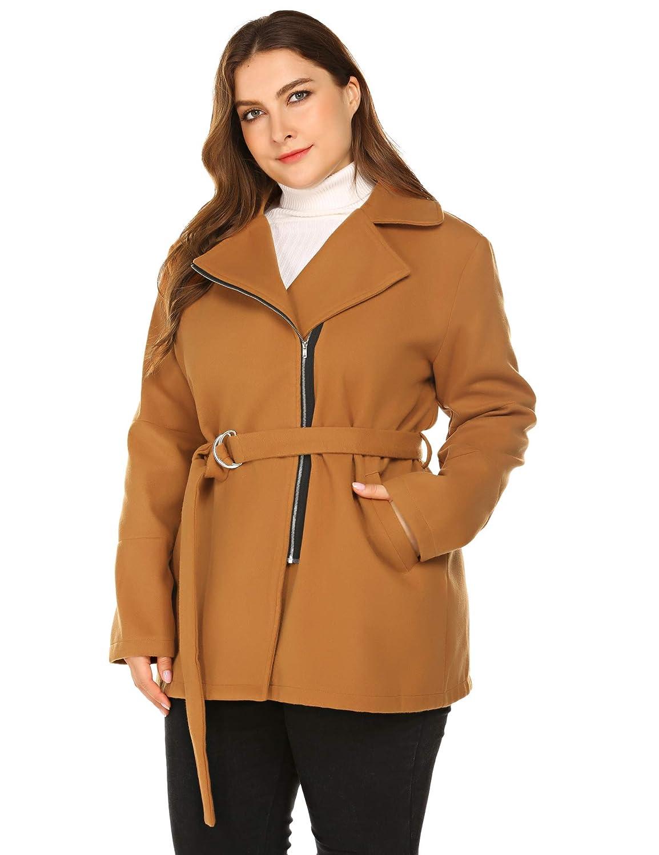 INVOLAND Plus Size Women Woolen Coat Zipper Jacket Lined Trench Coat with Belt