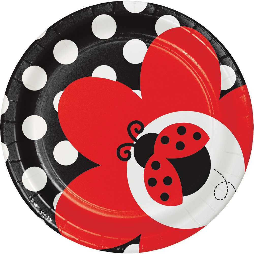 Creative Converting 96-Count Ladybug Fancy Round Dessert Paper Plates, Made in the USA