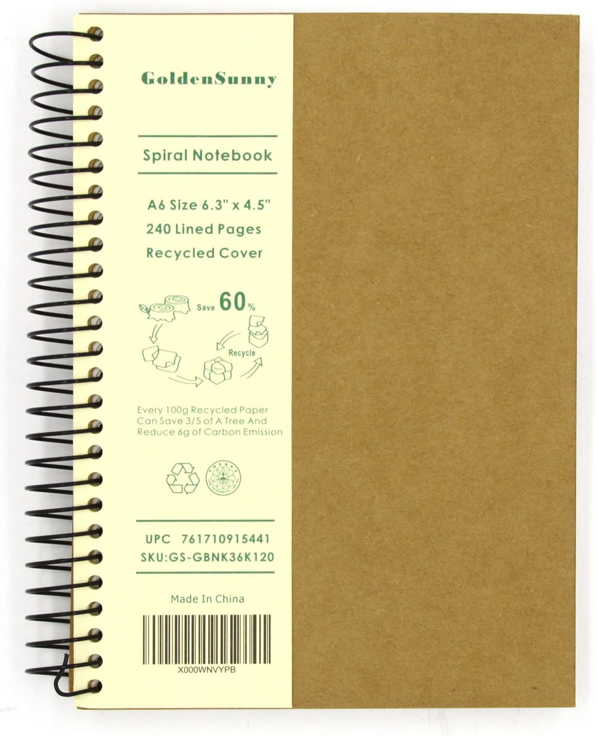 Small Spiral Notebook, 240 Lined Pages, A6 Size Wide Ruled Paper, Recycled Hard Cover - GoldenSunny