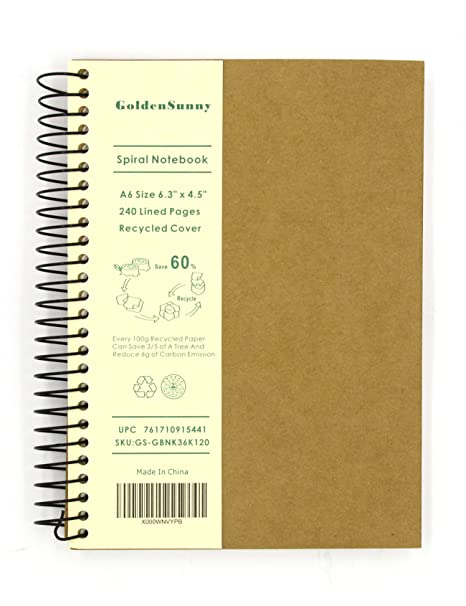 493cafc3aa69 Small Spiral Notebook, 240 Lined Pages, A6 Size Wide Ruled Paper, Recycled  Hard Cover - GoldenSunny