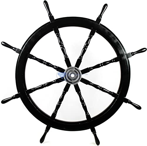 Nagina International Nautical Handcrafted Wooden Ship Wheel – Home Wall Decor 18 Inches, Black