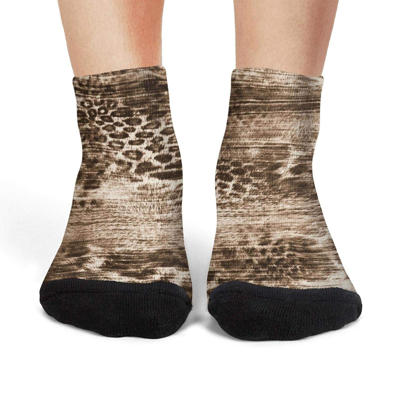 Mens athletic low cut Ankle sock leopard rounds silk scarf design Non-Slip Fit Short Sock