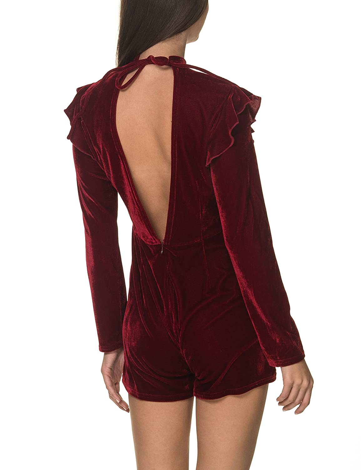 207794a7326 Amazon.com  Glamorous Women s Velvet Playsuit Burgundy in Size X-Small   Clothing