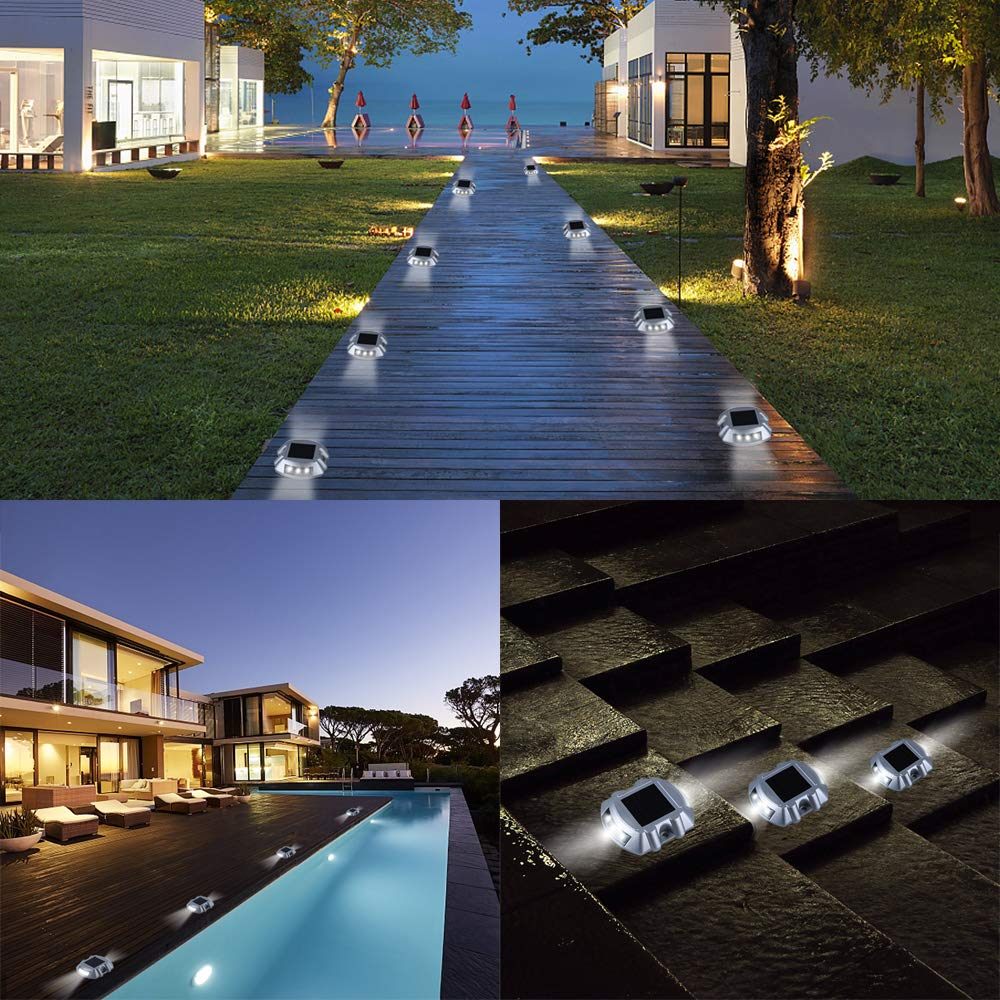 Solar Dock Light APONUO 8-Pack Pathway Lights Solar Deck Lights Led Step Road Driveway Light Wireless Waterproof Outdoor Warning Step Lights for Driveway Garden Walkway Backyard Step by APONUO (Image #7)