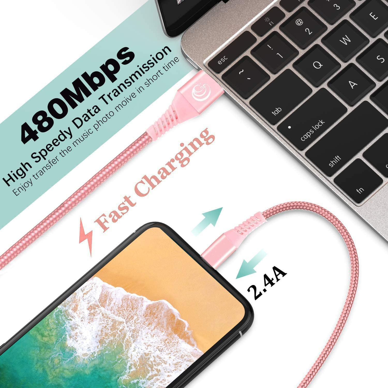 Aioneus Mfi Certified Lightning Cable Fast Charging iPhone Charger Nylon Braided Phone Charger Cord 6ft, 2Pack Compatible with iPhone 12 Pro Max 11 Pro Xr Xs Max 10 8 Plus 7 6 6s 5c,SE 2020,iPad