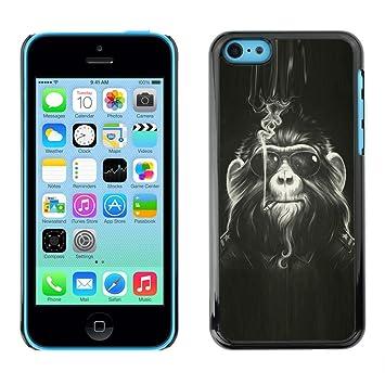 QCASE / Apple Iphone 5C / mono peludo arte pintura gafas de ...