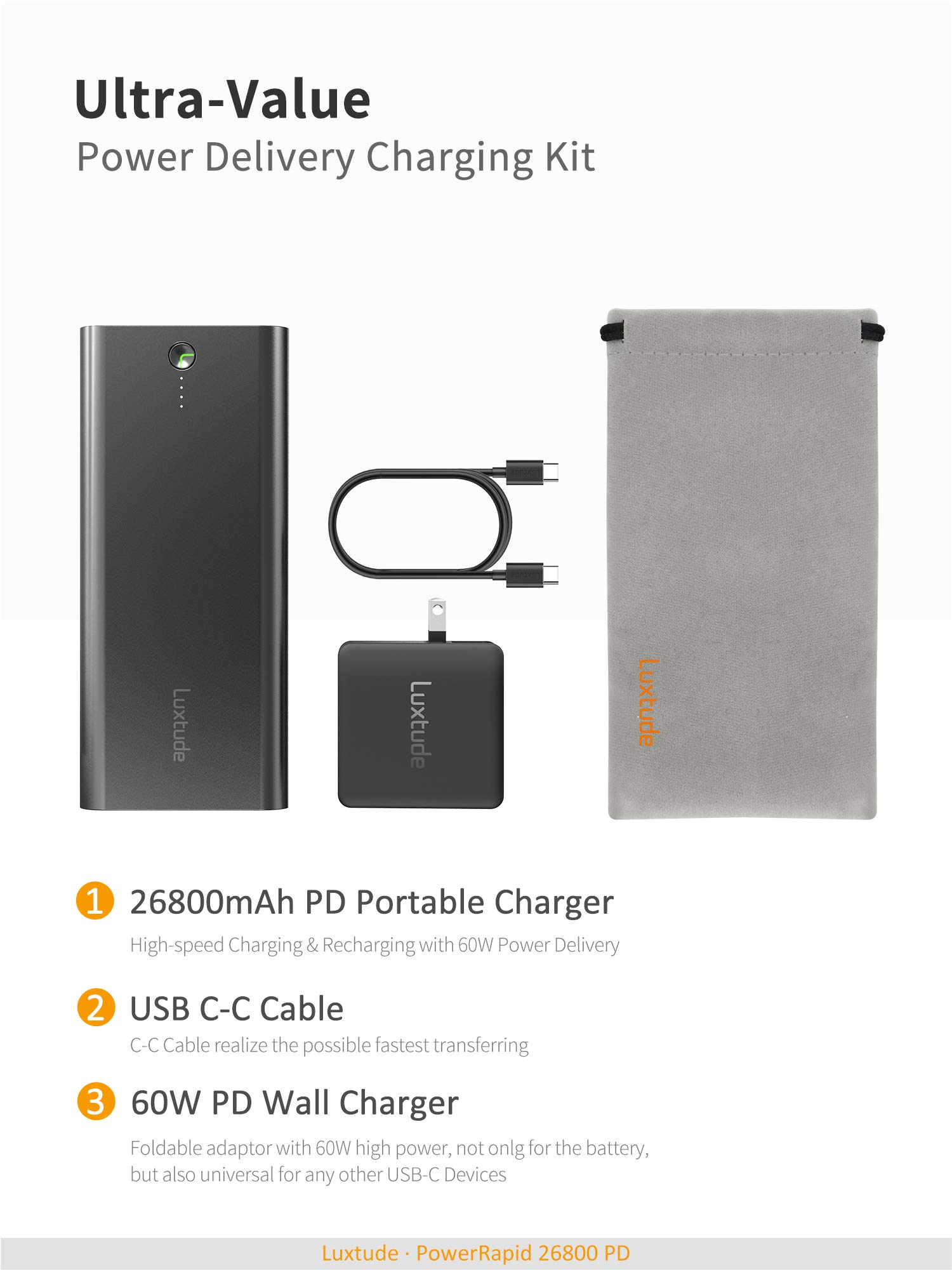 Luxtude PowerRapid 26800 PD, 45W USB C PD Portable Laptop Charger & 60W Power Delivery Wall Charger Bundle, Recharged in 3 Hours USB C Power Bank for MacBook Pro, Notebook, Galaxy S10, Type C Laptops by Luxtude (Image #9)