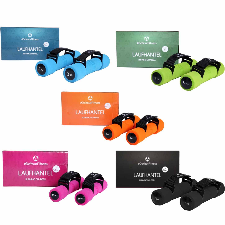 Hantelset (5X Paar 0,5kg bis 3kg) »Liona« / Fitnesshanteln/Gewichte mit Verstellbarer Handschlaufe in 5 Gewichtsabstufungen (0,5kg 1kg 1,5kg, 2kg & 3kg) mit extra weicher Oberfläche.