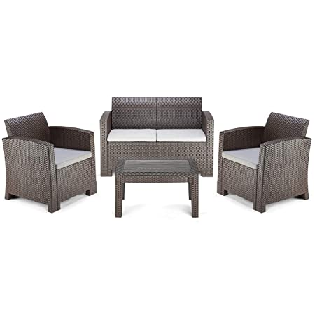 Pamapic 4 Piece Outdoor Patio Furniture Sets, All Weather Chair with Washable Cushion Coffee Imitation Wood Table Top, in a Propylene Resin Plastic Wicker Pattern Grey Cushions Brown