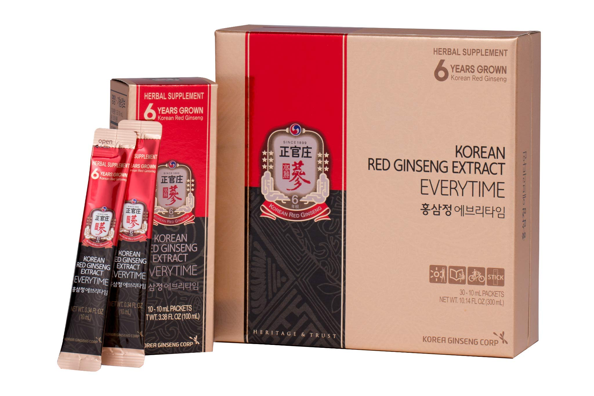 KGC Cheong Kwan Jang [Korean Red Ginseng EveryTime 3000mg] 100% Korean Panax Red Ginseng Extract, Portable Sticks, Healthy Immune System Support Booster and Energy Enhancement, No- Caffeine - 30 Packs