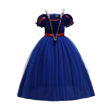 ELSA & ANNA® Princesa Disfraz Traje Parte Las Niñas Vestido (Girls Princess Fancy Dress) ES-SNWBLU02 (5-6 Años, Azul)