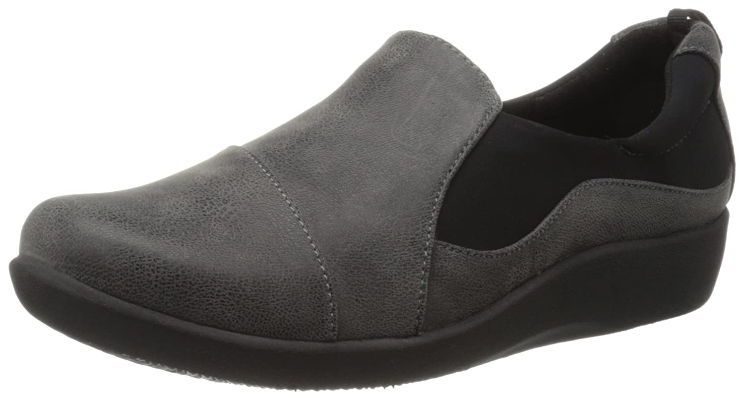 Clarks Damens's CloudSteppers Grau Sillian Paz Slip-On Loafer, Grau CloudSteppers Synthetic Nubuck, 11 W US 94db90