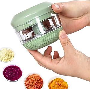 Pendolr Mini Manual Food Chopper - Durable Hand Held garlic grinder Twist Food Processor Garlic Press Mincer Vegetable Grinder for Fruit Meat Nuts Pepper