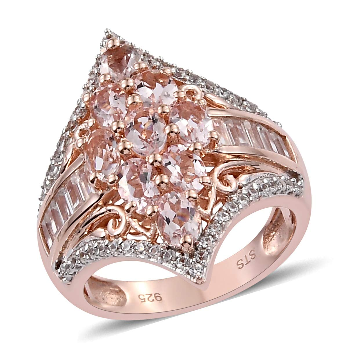 Cluster Ring 925 Sterling Silver Vermeil Rose Gold Pink Morganite Zircon Jewelry for Women Size 6 Ct 2.1 by Shop LC Delivering Joy