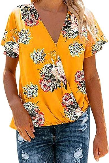 SEWORLD Camisa de Mujer Camiseta de Manga Corta con Cuello de Pico para Mujer Camiseta Blusa(Negro, Amarillo, Azul, S/M/L/XL/XXL): Amazon.es: Ropa y accesorios