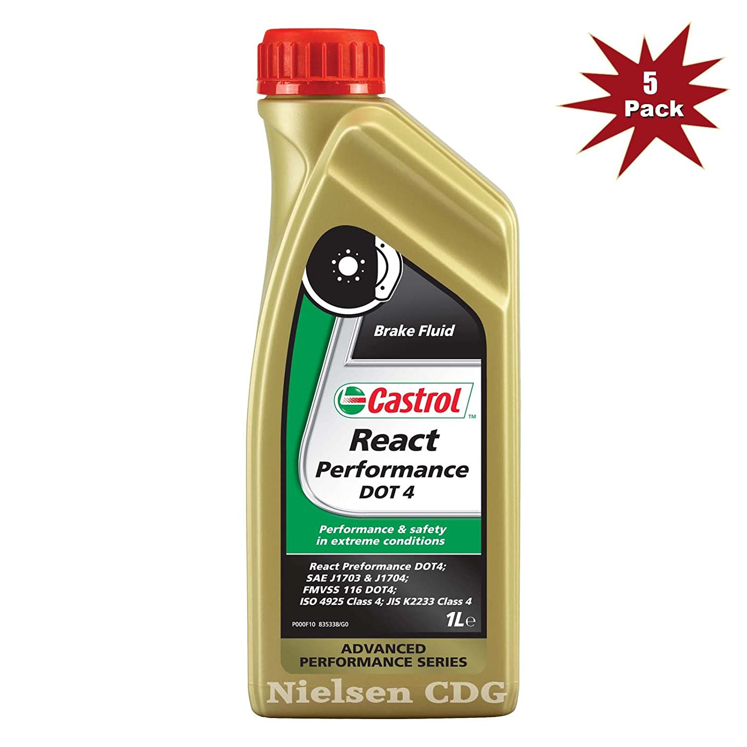 Castrol React Performance DOT 4 Brake Fluid - 5x1L = 5 Litre Nielsen CDG
