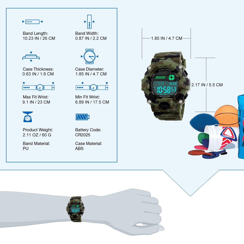 Kinder Digital Uhren, Jungen Sportuhr Military Armbanduhren mit ...