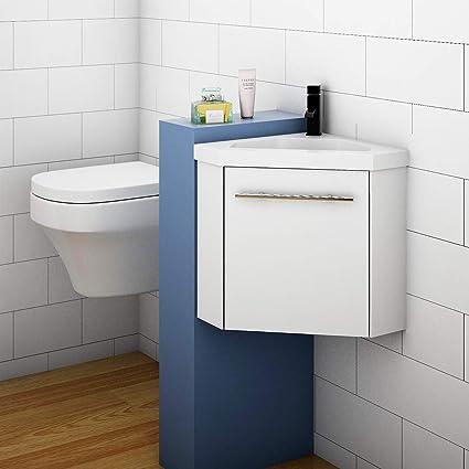 400mm White Corner Basin Vanity Units For Small Bathrooms Amazon Co Uk Home Kitchen