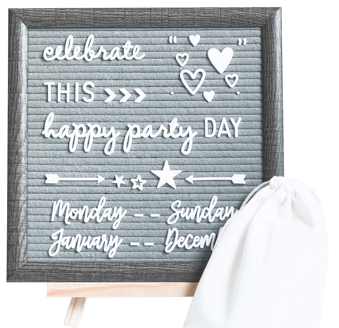 Rustic Framed Felt Letter Board - 324 White Characters and Cursive Word Pack, 10x10 Grey Changeable Letterboard, Wooden Table Stand, One Storage Pouch by Mosa Creations