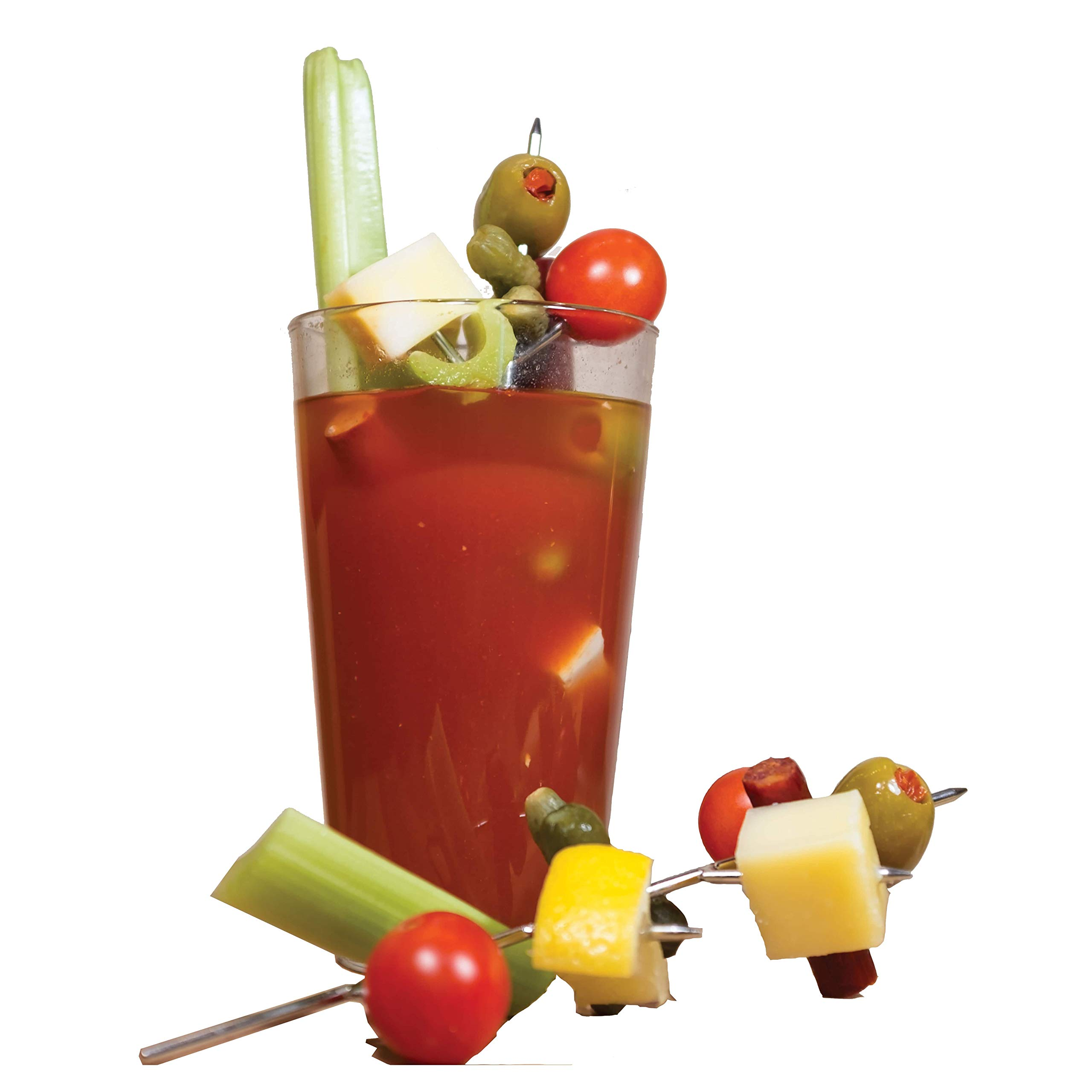 NOD Products The Bloody Mary Tree - Stainless Steel Drink Garnish Pick & Holder - (4) Pack