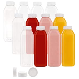 Disposable Plastic Juice Bottles-16 Oz with Lids   12 Pack   for Water, Orange Apple Lemon Juicing, Smoothies, Milk, Reusable, BPA Free, Tamper-Proof Caps, Catering, Takeout