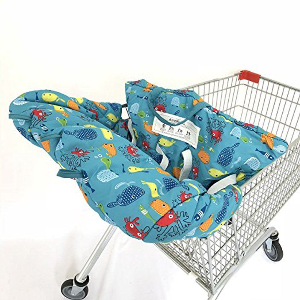 Twin Double Shopping Cart Cover for Baby Siblings 4 Leg Holes High Chair Trolley Pad Extra-Large Size- Submarine ZXYWW