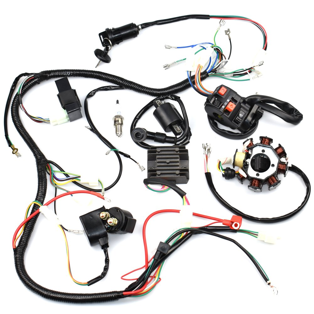 Complete Wiring Harness Kit Wire Loom Electrics Stator 50 And 70 Atv Quad Diagram Coil Cdi For 4 Four Wheelers 150cc 200cc 250cc Go Kart Dirt Pit Bikes
