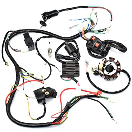 amazon com complete wiring harness kit wire loom electrics stator rh amazon com
