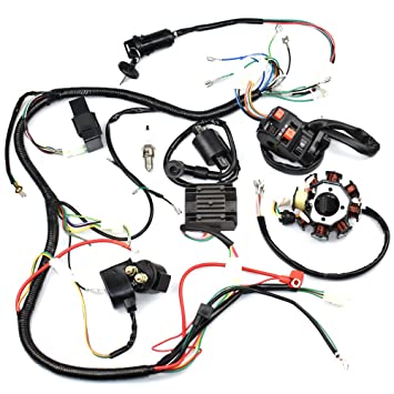 Amazon.com: Complete Wiring Harness kit Wire loom Electrics Stator ...