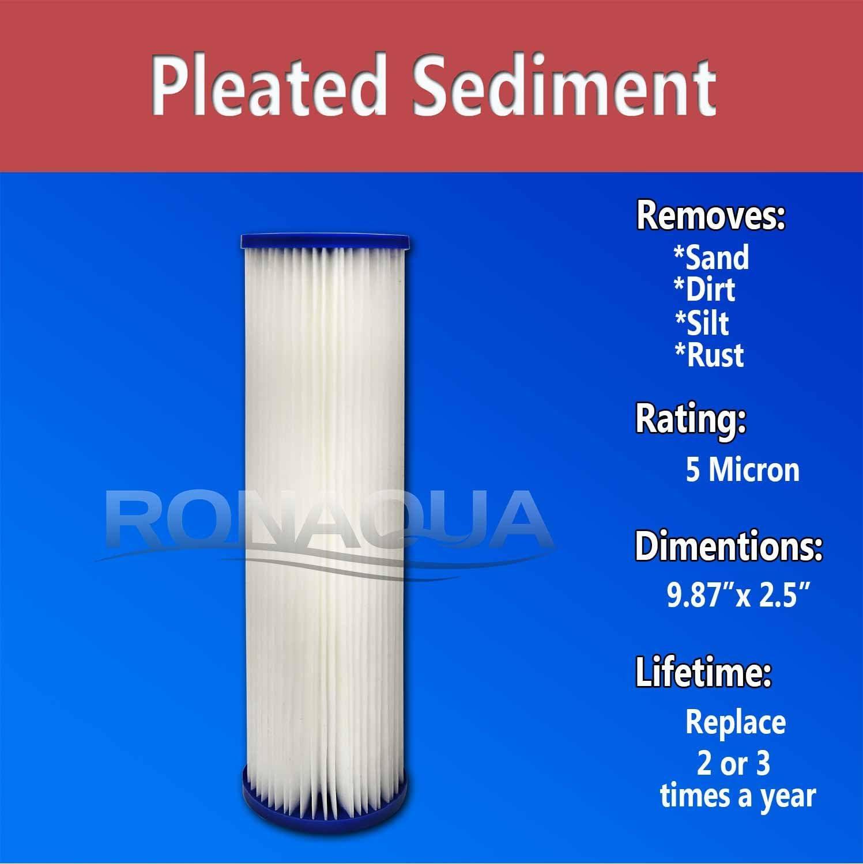 Ronaqua 5 Micron 6 Pack 10 x 2.5 Pleated Sediment Filter