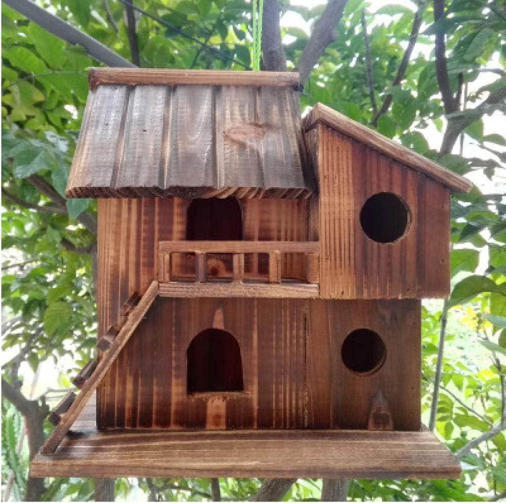 Tlwrnop Casas para Pájaros Nidos para Pájaros 25 * 25 * 16 Cm Al Aire Libre Nidos De Pájaros De Madera Decoración Conservadora Casa De Pájaros Jaula De Pájaros De Madera Caja