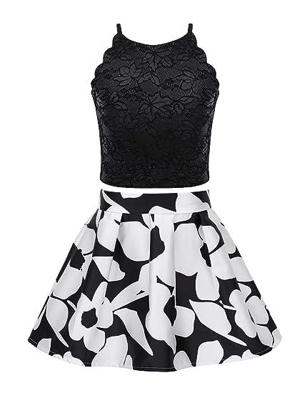 Agoky Vestido de Encaje para Niña Verano Traje de Princesa Fiesta ...