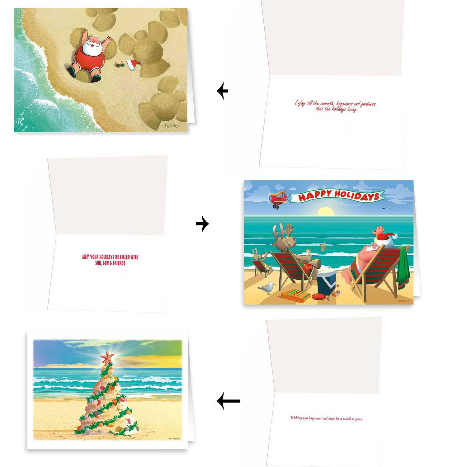 Amazon.com: Beach Christmas Card Variety Pack - 24 Cards & Envelopes ...