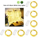 Fairy Lights Battery Operated, Christmas Lights 6 Set Waterproof Starry String Lights for Bottle, Bedroom, Patio, Home Party Decorations (Warm White, 7.2ft 20 LEDs)
