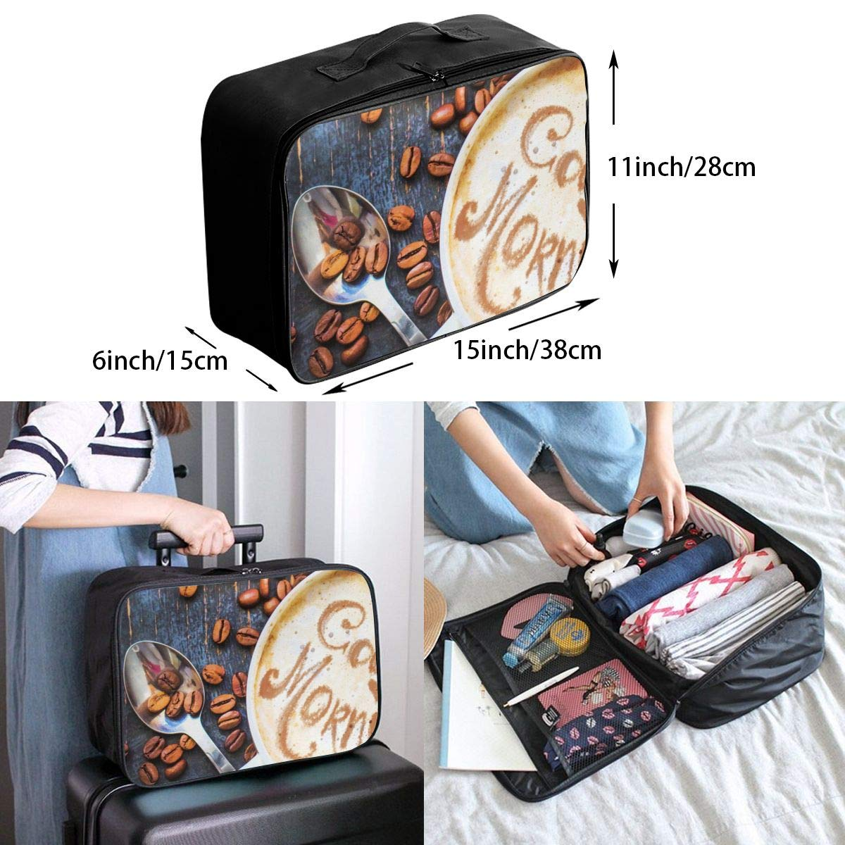 Travel Luggage Duffle Bag Lightweight Portable Handbag Coffee Large Capacity Waterproof Foldable Storage Tote