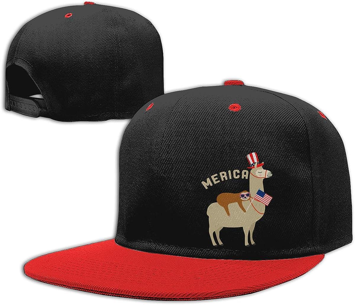 Merica Sloth Riding Llama Printed Hip-Hop Baseball Caps NMG-01 Men and Women Snapback Cap