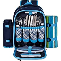 Ferlin Picnic Backpack for 4 With Cooler Compartment Plates and Cutlery Set (Blue)