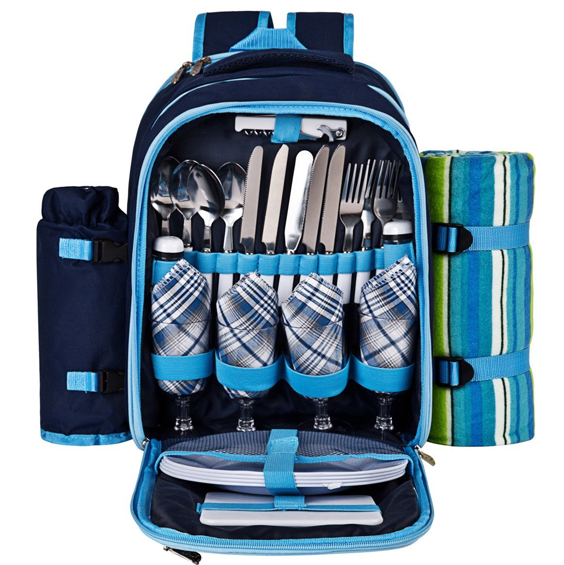 Blue Plates and Cutlery Set Ferlin Picnic Backpack for 4 With Cooler Compartment Detachable Bottle//Wine Holder Fleece Blanket