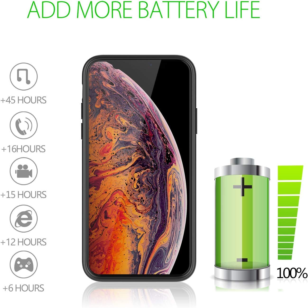Black BioRing Premium Full Protection Ultra Thin Battery Charger Case Compatible with iPhone Xs Max 4000 mAh 150/% Extra Battery Power Light-Weight Slim Anti Slippy Charger Case