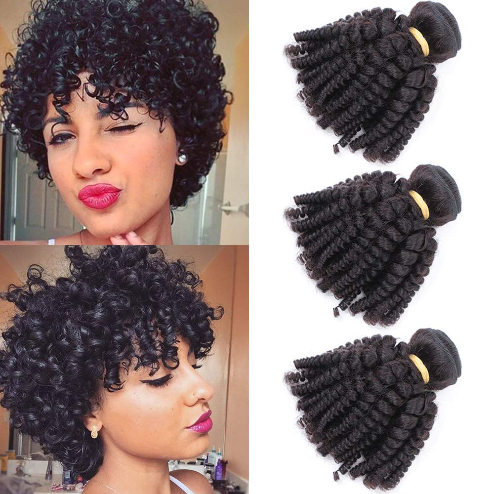 Amazon Com Brazilian Funmi Human Hair Bundles 8 10 12in Afro Kinky Curly Hair Bundles Short Curly Weave Unprocessed Brazilian Virgin Human Hair Bouncy Curl Extensions Beauty