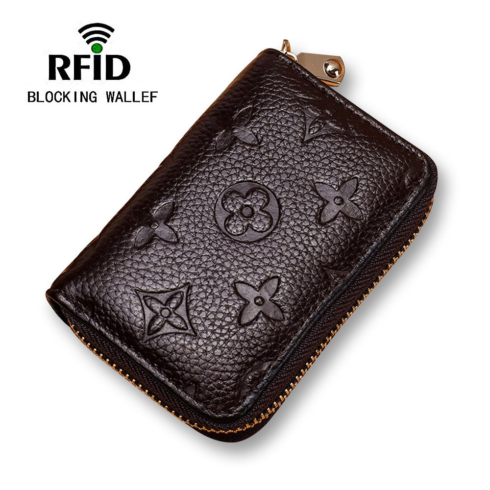 Women RFID Blocking Credit Card Holder Wallet Leather Slim Zipper Purse - Brown