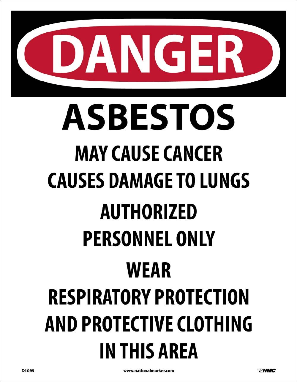 D1095 National Marker Danger Asbestos May Cause Cancer Label (Pack of 200)