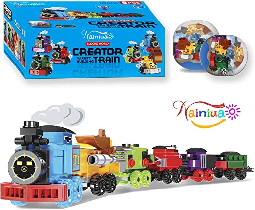 Nainiuao 189 Pcs Building Blocks Train Set ,6 Pcs Train Cabins Building Kits for Easter Eggs Fillers, Cabins,Kids Prizes Toys, Easter Egg ,Party Favors, Easter Gift, Easter Basket Fillers